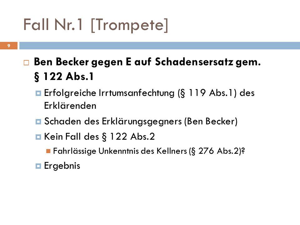 Fall Nr.1 [Trompete] Ben Becker gegen E auf Schadensersatz gem. § 122 Abs.1. Erfolgreiche Irrtumsanfechtung (§ 119 Abs.1) des Erklärenden.